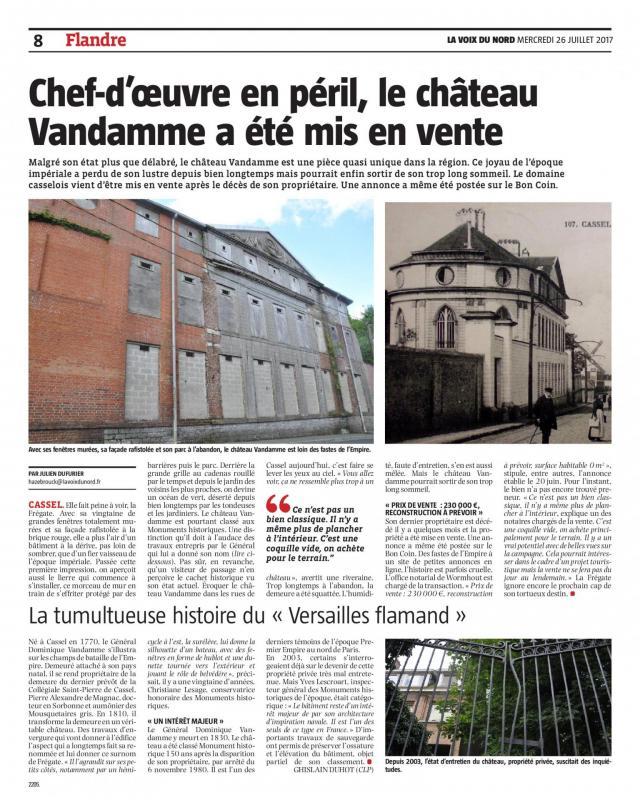 Revue de presse chateau vandamme 26 juillet 2017 la voix du nord 1